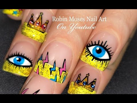 Diy Eye Nails Bling Crowns Lightning Nail Art Design Tutorial