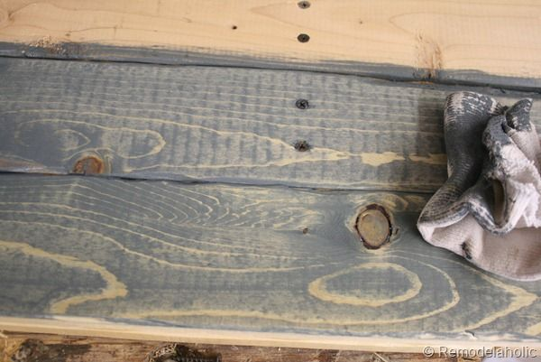 Weathered Barn Wood Effect With Water Based Charcoal Gray Stain Wiped On Then Off Right Away Diy Dutch Door 18