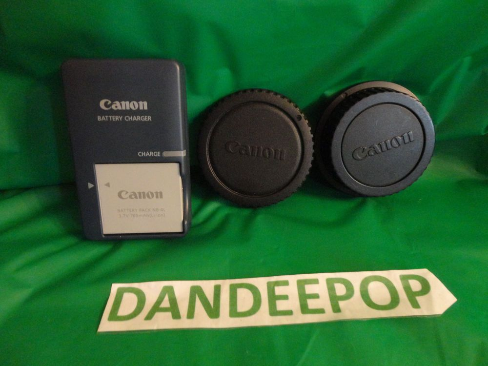 Canon Battery Charger CB-2LX G Battery NB-5L plus lens cover and cap OEM  find me at www.dandeepop.com
