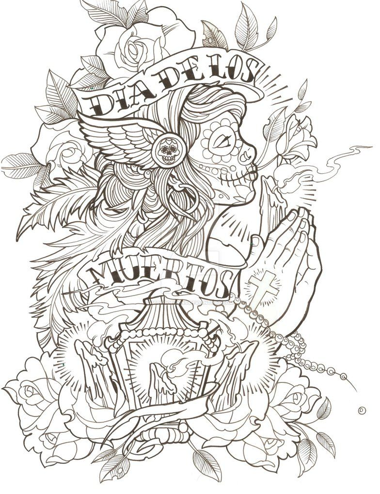 New School Style Heart Skull Coloring Pages Tattoo Outline Drawing Drawings