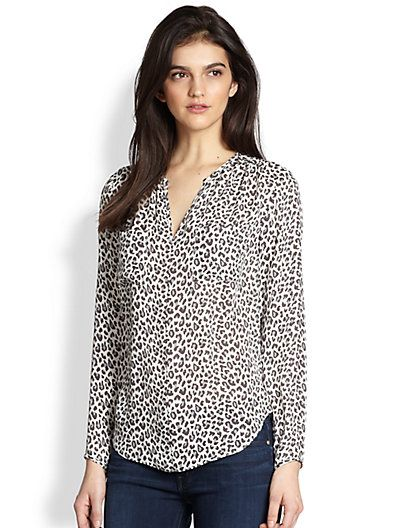 Rebecca Taylor - Wildcat Print Silk Blouse - Saks.com ($265) Silk Use Vogue 1387 Rebecca Taylor top pattern view B:  http://voguepatterns.mccall.com/v1387-products-47943.php?page_id=1113&search_control=display&list=search