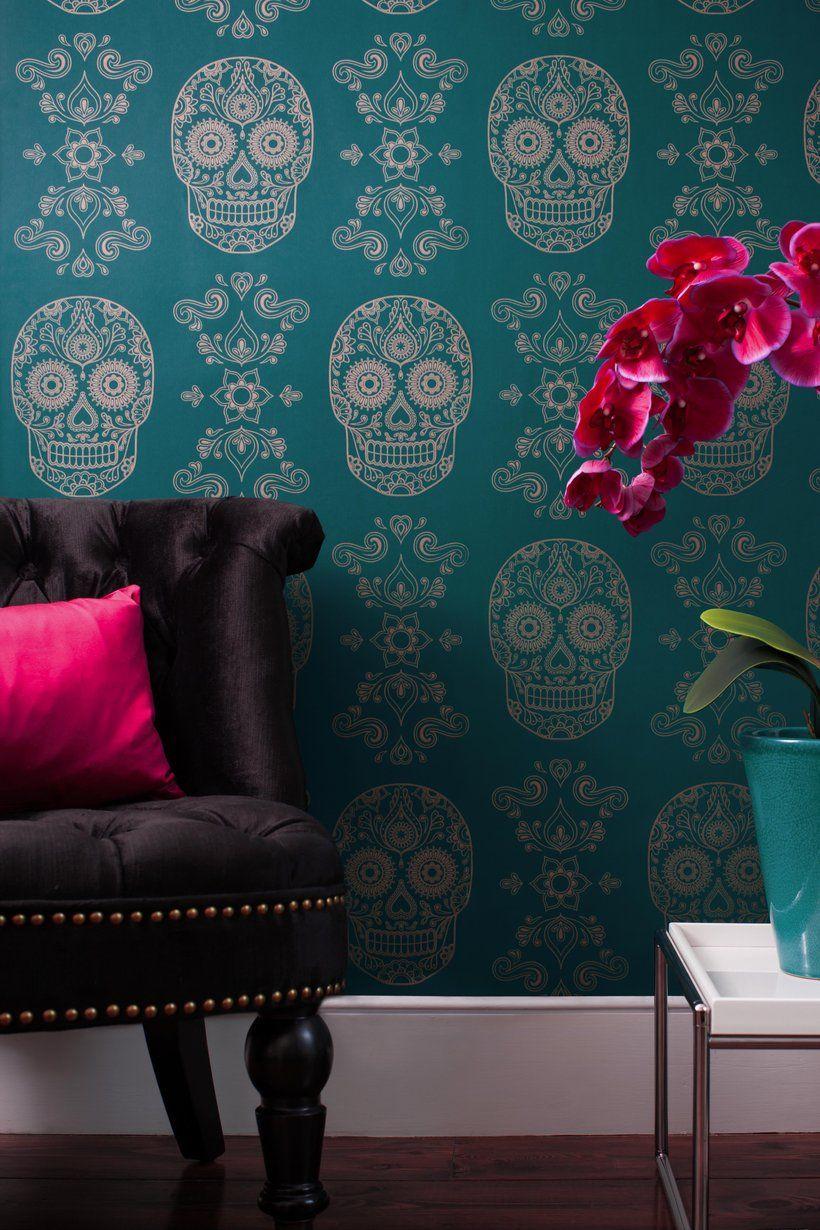 Sugar Skull Wallpaper Teal & Gold in 2020 Wall decor