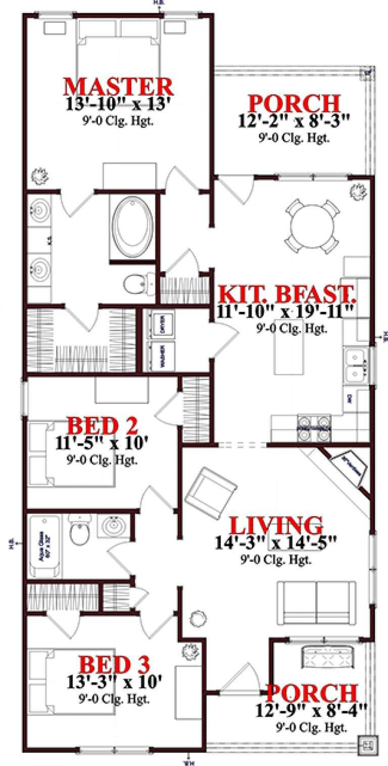 House Plan 1070 00228 Narrow Lot Plan 1 256 Square Feet 3 Bedrooms 2 Bathrooms Bungalow Style House Plans Craftsman Style House Plans Narrow Lot House Plans
