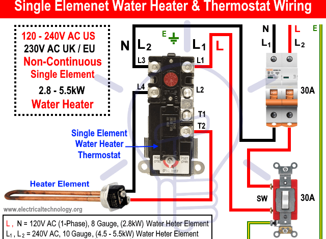 How To Wire Single Element Water Heater And Thermostat In 2020 Water Heater Thermostat Water Heater Water Heater Installation