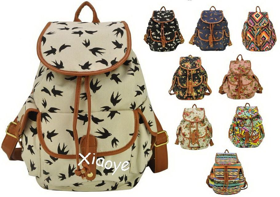 2014-new-Trendy-Women-Print-Canvas-Backpack-Girl-lady-Colorful ...