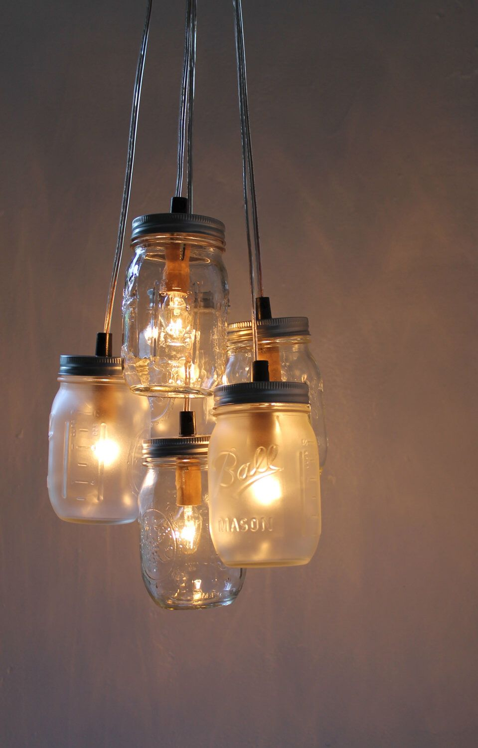 Mason jar chandelier hanging mason jar lighting fixture mason jar chandelier hanging mason jar lighting fixture clustered clear and frosted mason jars upcyled rustic bootsngus lights decor arubaitofo Gallery