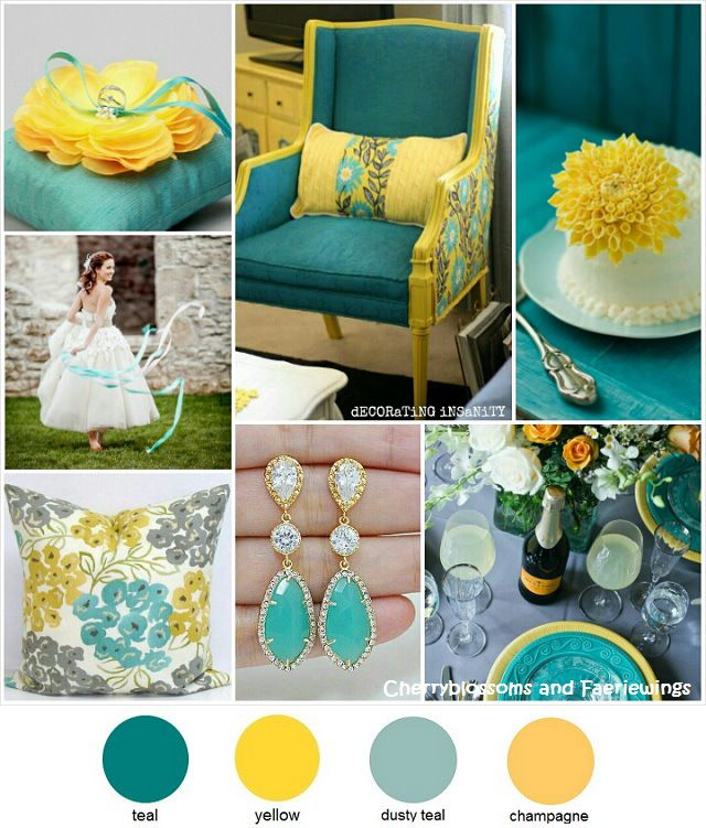 Color Series #15 : Teal + Yellow | Teal yellow, Wedding and Wedding ...