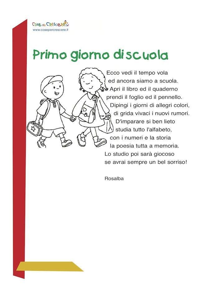 Tema: il primo giorno di scuola elementare
