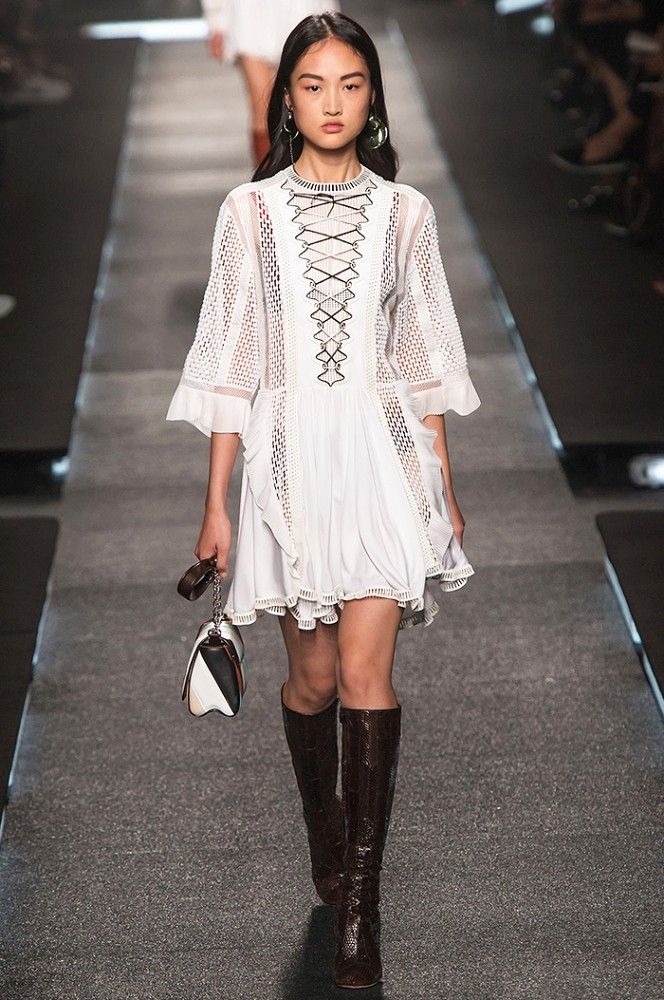 White flowy dress at Saint Laurent. White flowy dress at Saint Laurent  Spring Summer Fashion d68fe702c165e