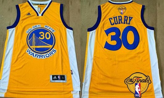 2faf50994 Golden State Warriors  30 Stephen Curry Yellow 2016 The NBA Finals Patch  Jersey