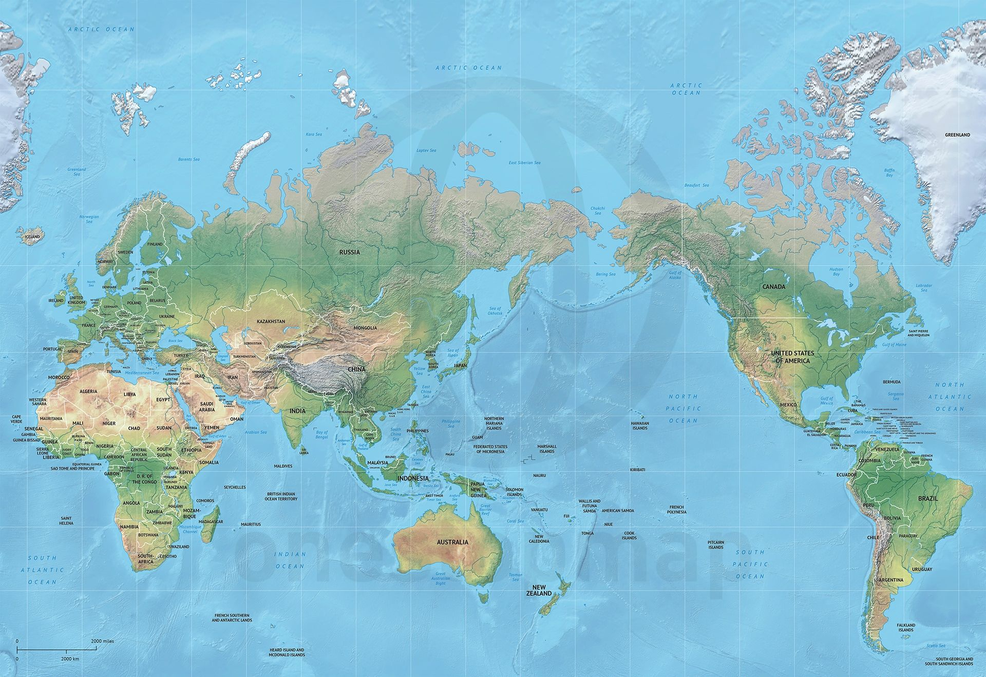 Vector map world relief mercator asia australia gumiabroncs Gallery