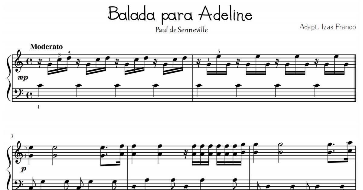 Partitura Balada Para Adeline Pdf Partituras Musica Partituras Balada