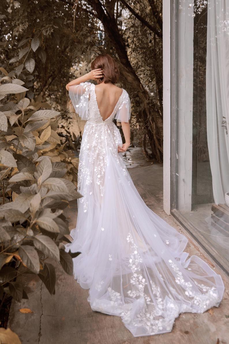 Sophia Vintage Blush Wedding Dress With Flutter Sleeve Open Back Vintage Blush Wedding Blush Pink Wedding Dress Wedding Dresses Lace [ 1191 x 794 Pixel ]
