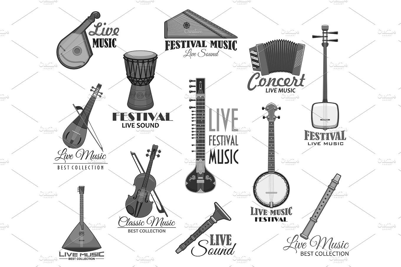 Musical instruments for music concert vector icons Music