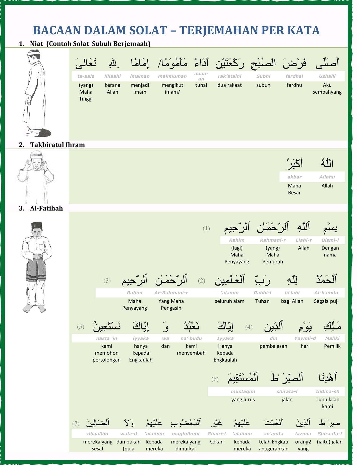 Terjemahan Per Kata Bacaan Bacaan Dalam Solat Ahlimasjid