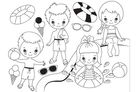 Vector Black White Pool Party Kids Pool Party Kids Kids Clipart Kids Vector