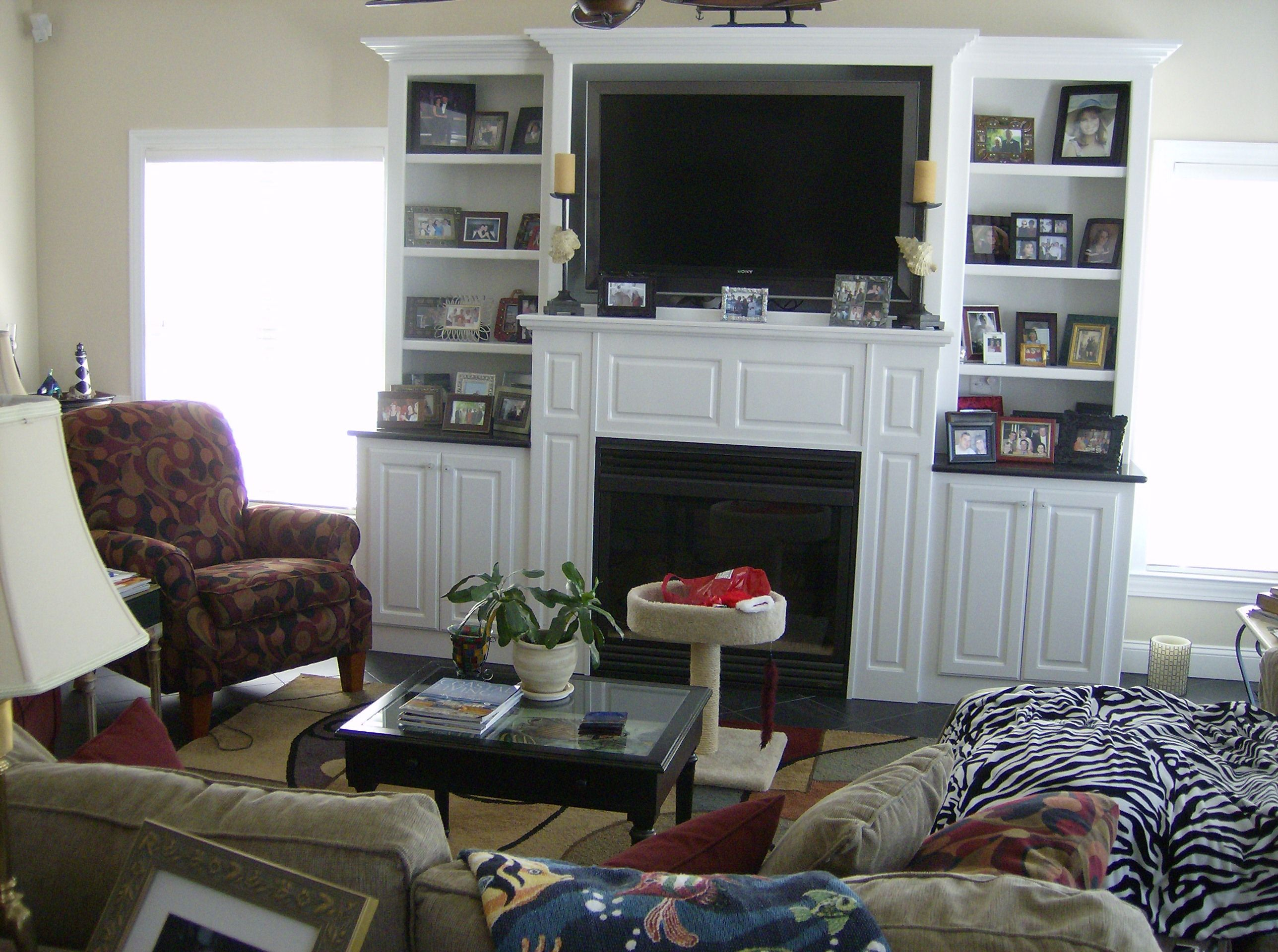 TV Over Fireplace Ideas | Familyroom with Fireplace and 52 ...