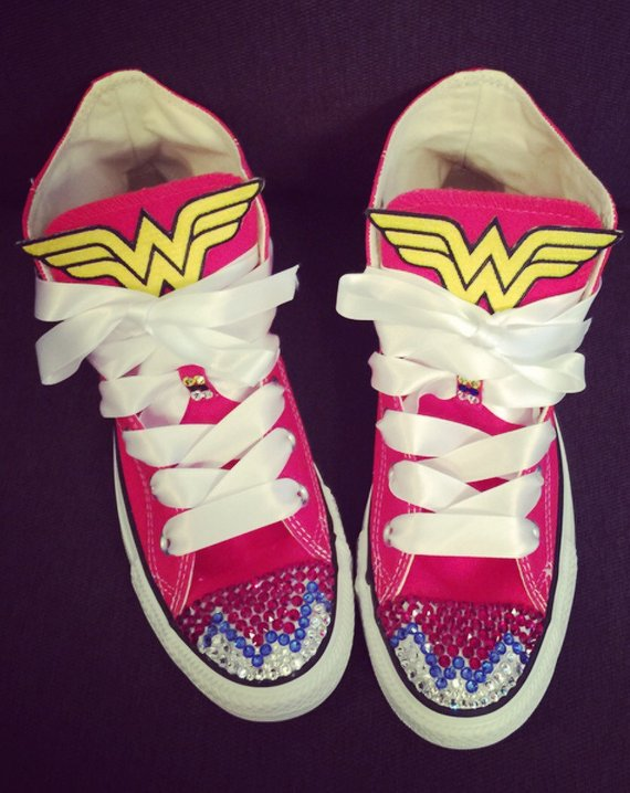 9b8d042e60bb Custom BLING Converse! Swarovski Elements bedazzled Wonder Woman CONVERSE-  Red high tops with Wonder