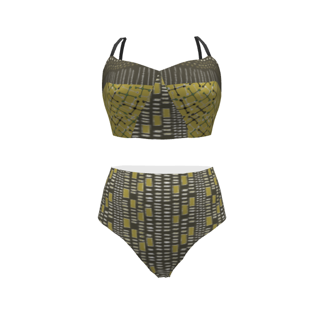 Papercut Patterns Soma Bikini Swimsuit made with Spoonflower designs on Sprout Patterns. Inspired by African mud-cloth designs, this bikini will show your thirst for adventure.