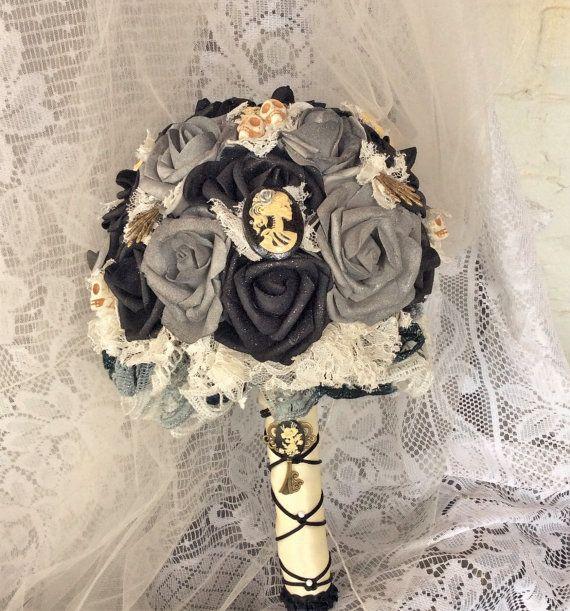 Skull Wedding Bridal Bouquet Ivory Grey Black Goth Flowers Gothic