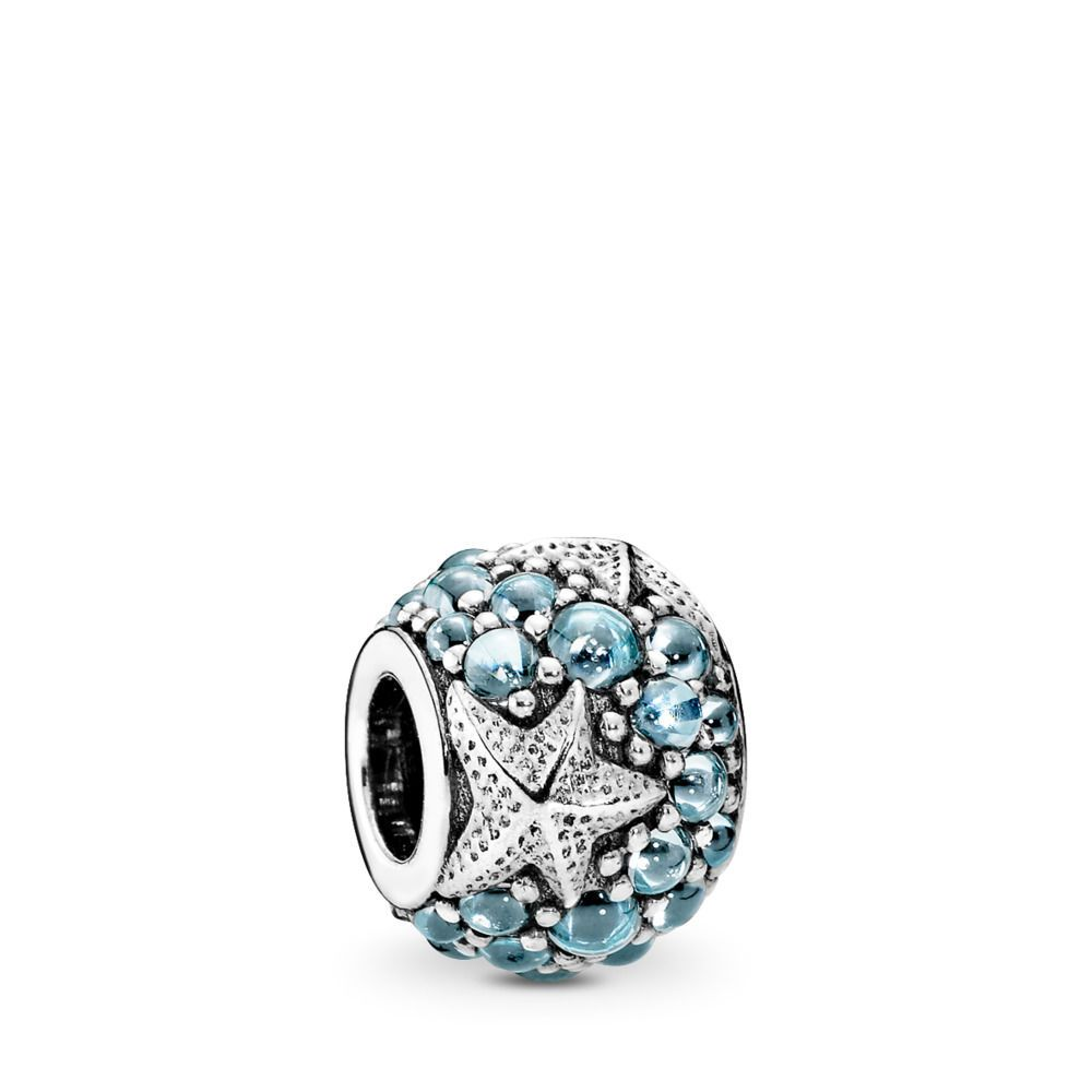 Who Sells Pandora Jewelry: Oceanic Starfish Charm, Sterling Silver, Blue, Cubic