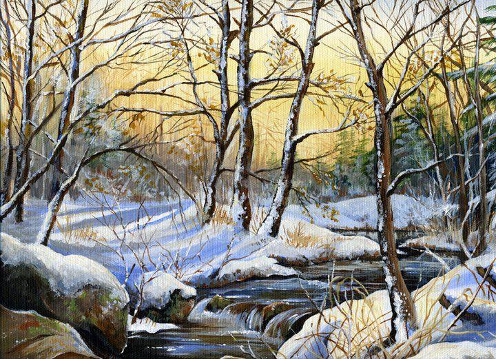 """"""" Silence on the snow""""  11"""" X 14"""" Acrylic on Canvas For Sale: $200.00"""