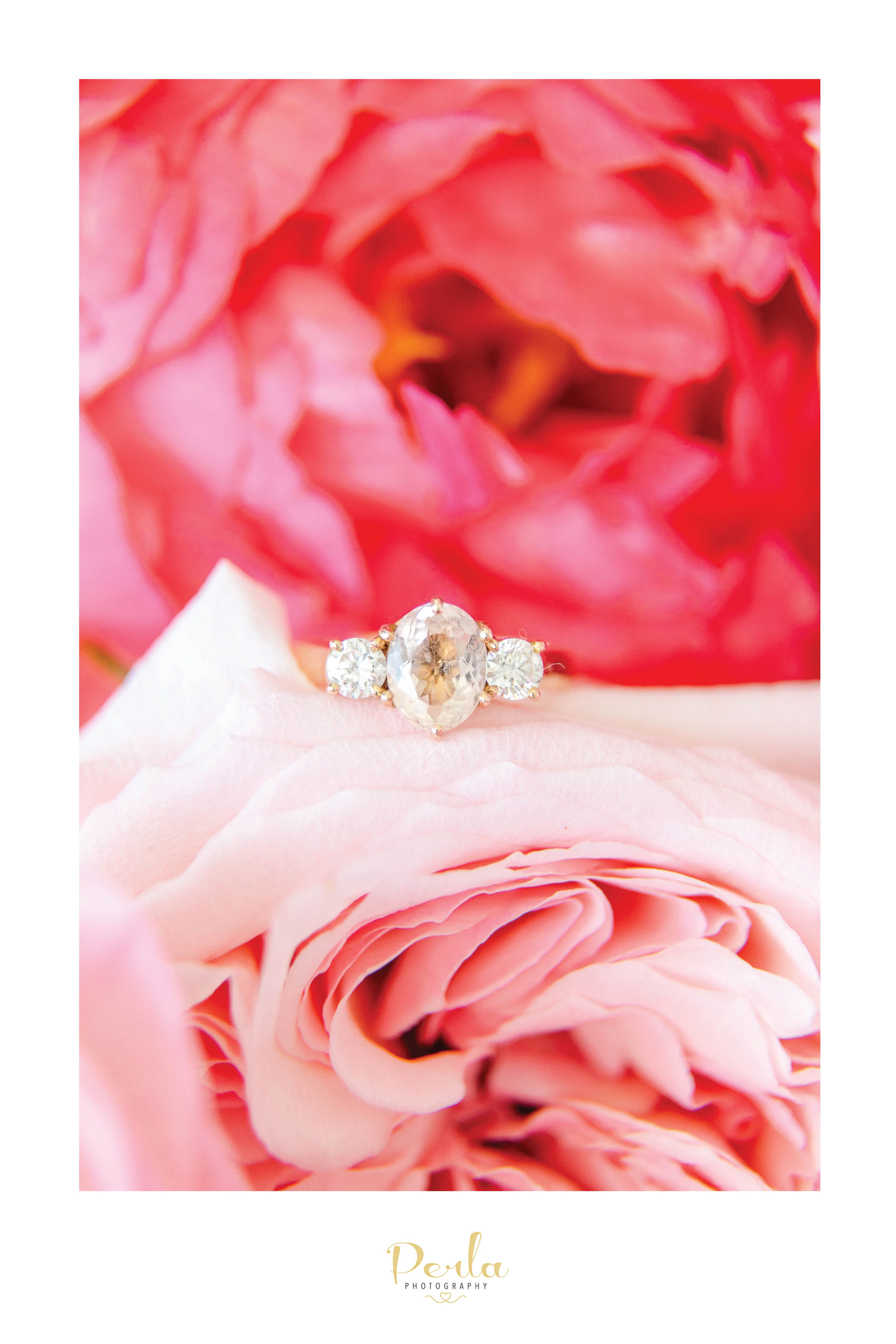 Melbourne Wedding. Engagement ring and Pink bride bouquet with ...