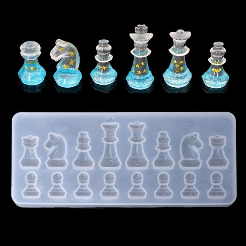 1x International Chess Shape Mold Silicone DIY Clay Epoxy Resin Mold Pendant