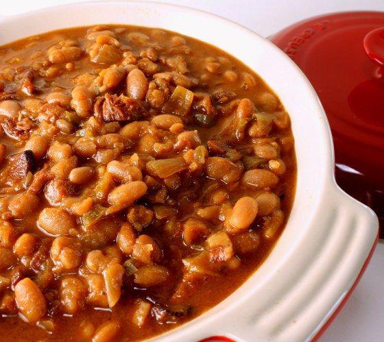 An Original Cowboy Beans Recipe For An Oven Or Slow Cooker Recipe Cowboy Beans Homemade Baked Beans Bean Recipes