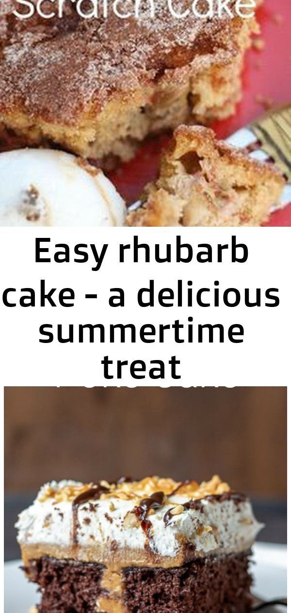 Easy rhubarb cake - a delicious summertime treat #chocolatepeanutbutterpokecake Easy Homemade Rhubarb Cake - An easy recipe using fresh rhubarb. This cake is amazing. The sugary crumble on top paired with the tart, tangy rhubarb is sheer heaven! Perfect as a snack cake, or as an easy, delicious dessert! Happy Hooligans Calling all you chocolate peanut butter fans. This poke cake is easy decadent and feeds a crowd. #partyfood #dessert #chocolatepeanutbutter Easy Rose Apple Cinnamon Cupcakes  – #chocolatepeanutbutterpokecake