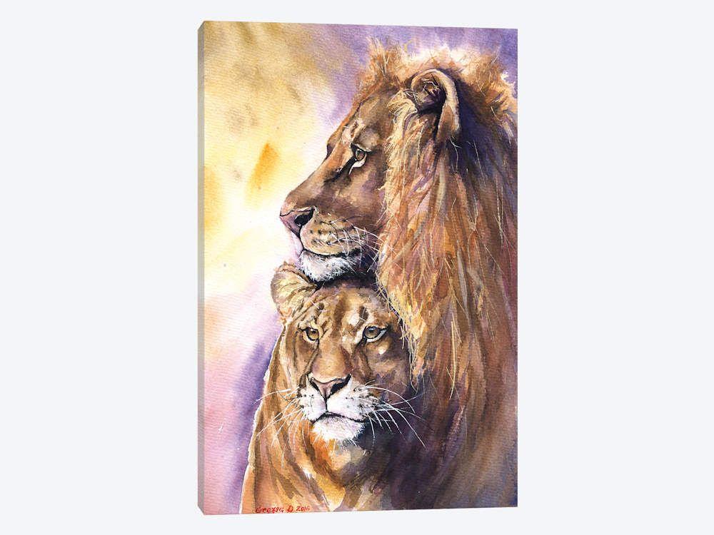 Lions Love Print of Original Watercolor Painting Lion family art wild cat art