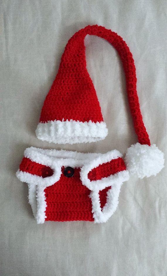 7992c655eb731 Crochet Baby Santa Elf Hat   Diaper by RenegadesCreations on Etsy