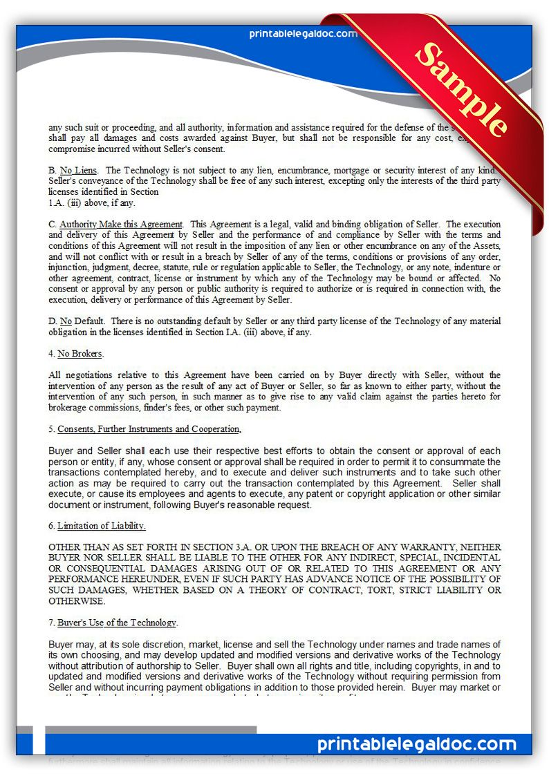 Printable Technology Sale Agreement Exclusive Template  Printable