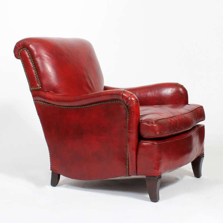 I Bought This Exact Chair At A Yard Sale And Had To Have The Seat Reupholstered Chose A Beautiful Paisley Red Leather Chair Red Leather Couches Club Armchair