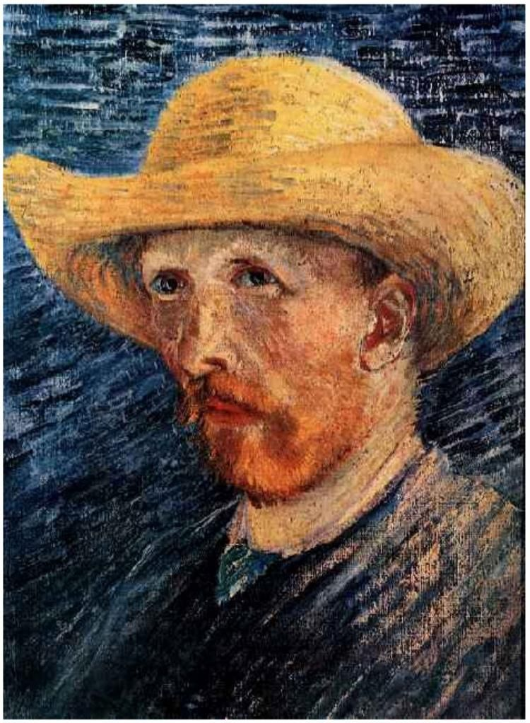 "Van Gogh . Self-portrait. 1887 ""We spend our whole lives in unconscious exercise of the art of expressing our thoughts with the help of words."""