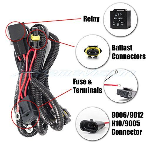 Xtremevision 9006 9012 H10 9005 Hid Battery Wiring Relay Harness 12v 40 Amp 35w55w For Hid Conversion Kit Continue To The Prod Relay Hide Hid Headlights
