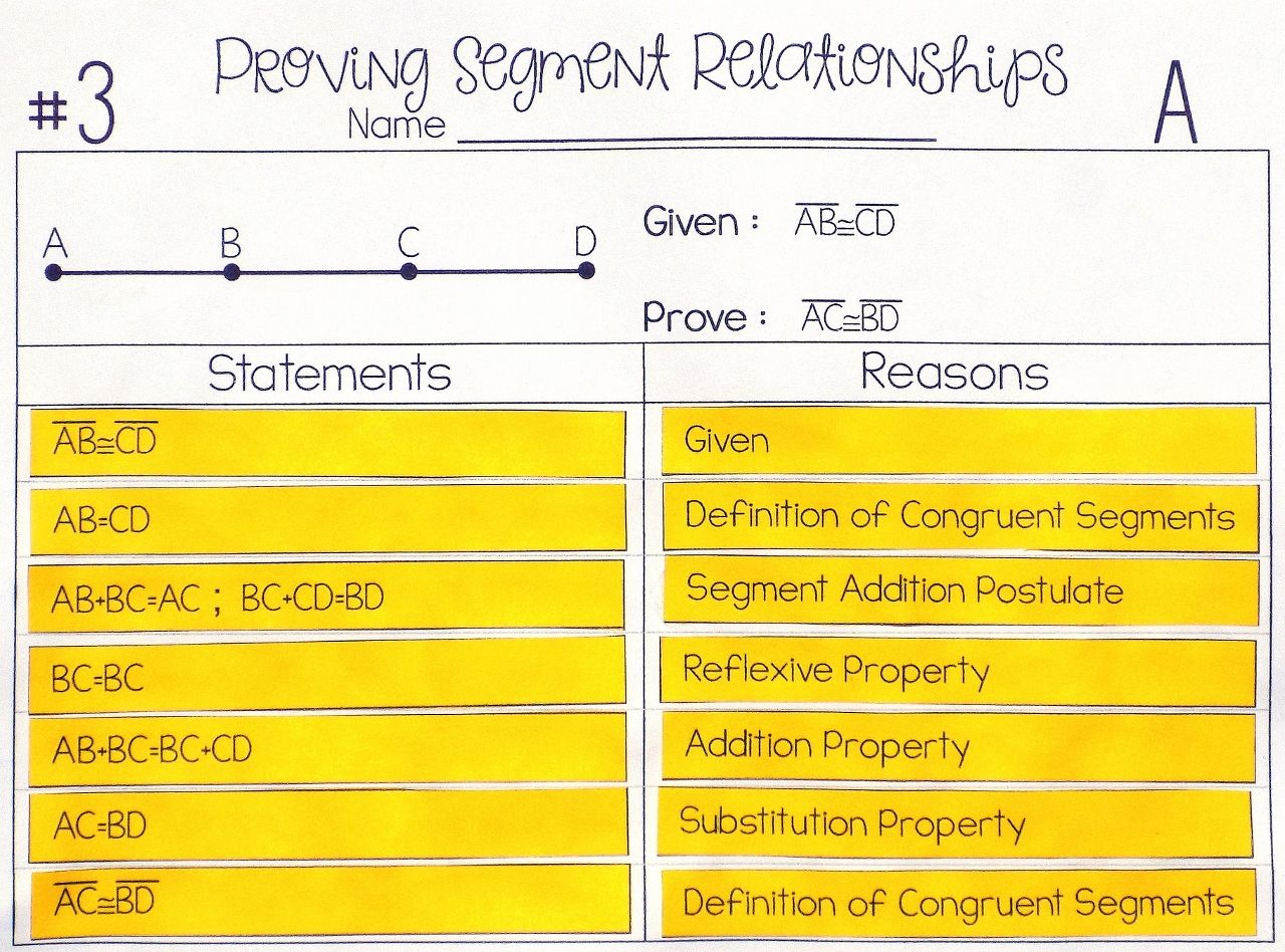 Segment Relationships Proof Activity