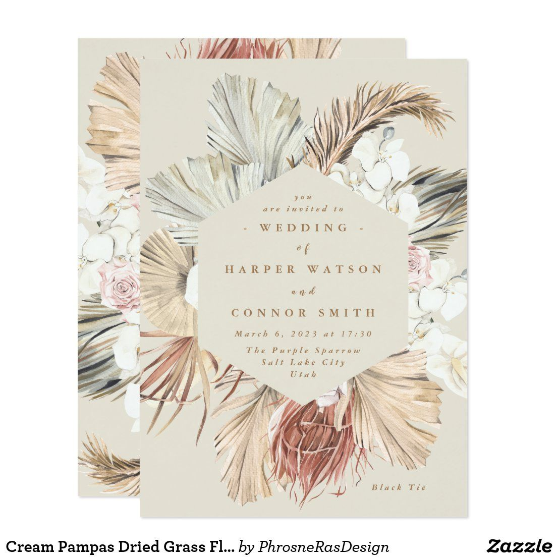 Cream Pampas Dried Grass Floral Jungle Wedding Invitation #zazzle #zazzlemade #myzazzle #zazzleUK #wedding2020 #pampaswedding