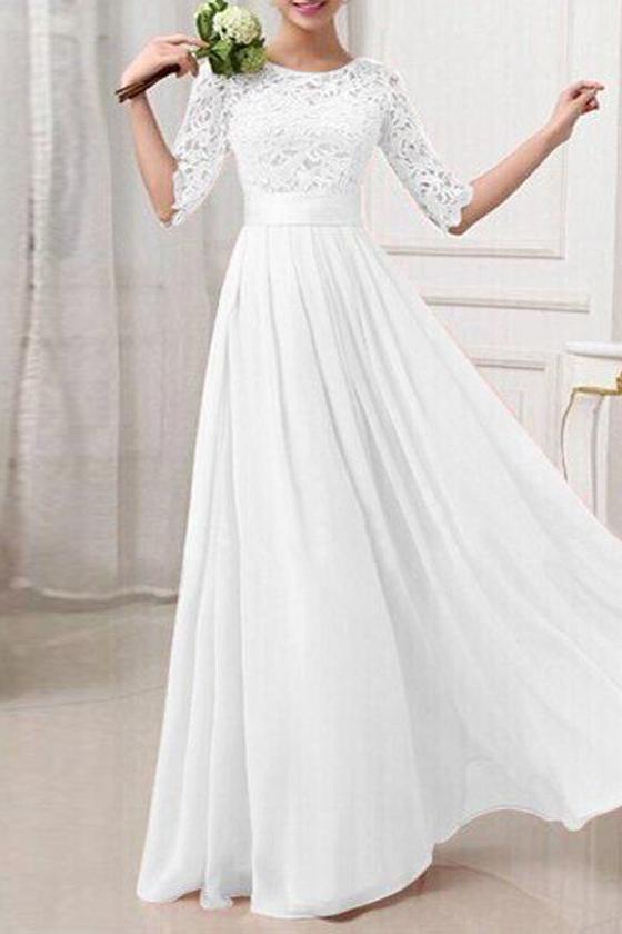 Weiß Spitze Rundhals Langarm Elegante MaxiKleid Abendkleid ...