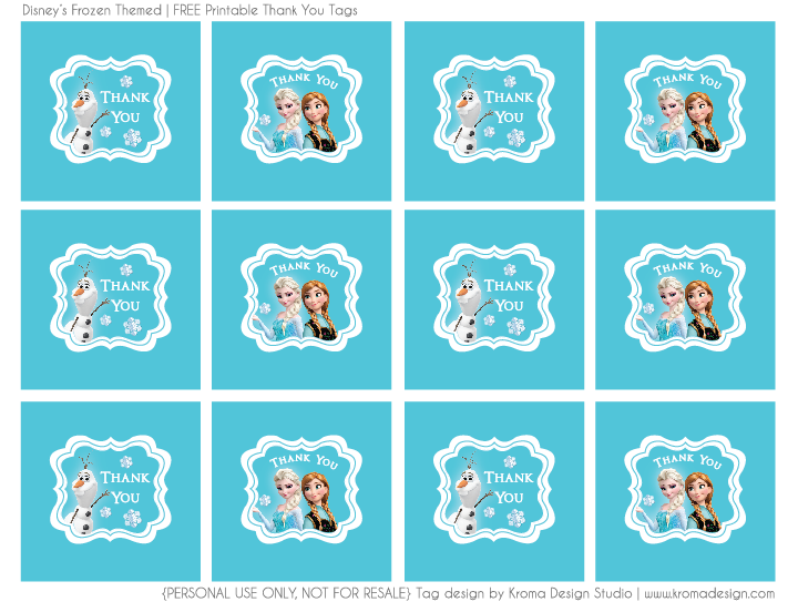 picture regarding Free Printable Thank You Tags for Birthdays known as Frozen themed - No cost printable Thank Oneself Want Tag PDF History