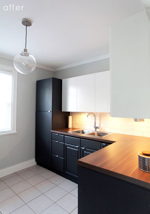 Simple Budget Kitchen Reno: Painted Lower Cabinets, IKEA Applad Uppers, IKEA  Pragel Walnut Countertops, West Elm Light Fixture I Donu0027t Really Care For  The ...