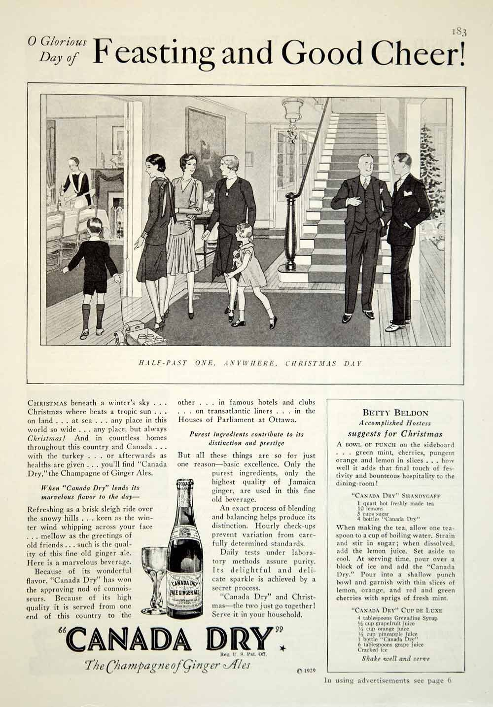1929 Ad Canada Dry Ginger Ale Christmas Day Dinning Drink Beverage ...
