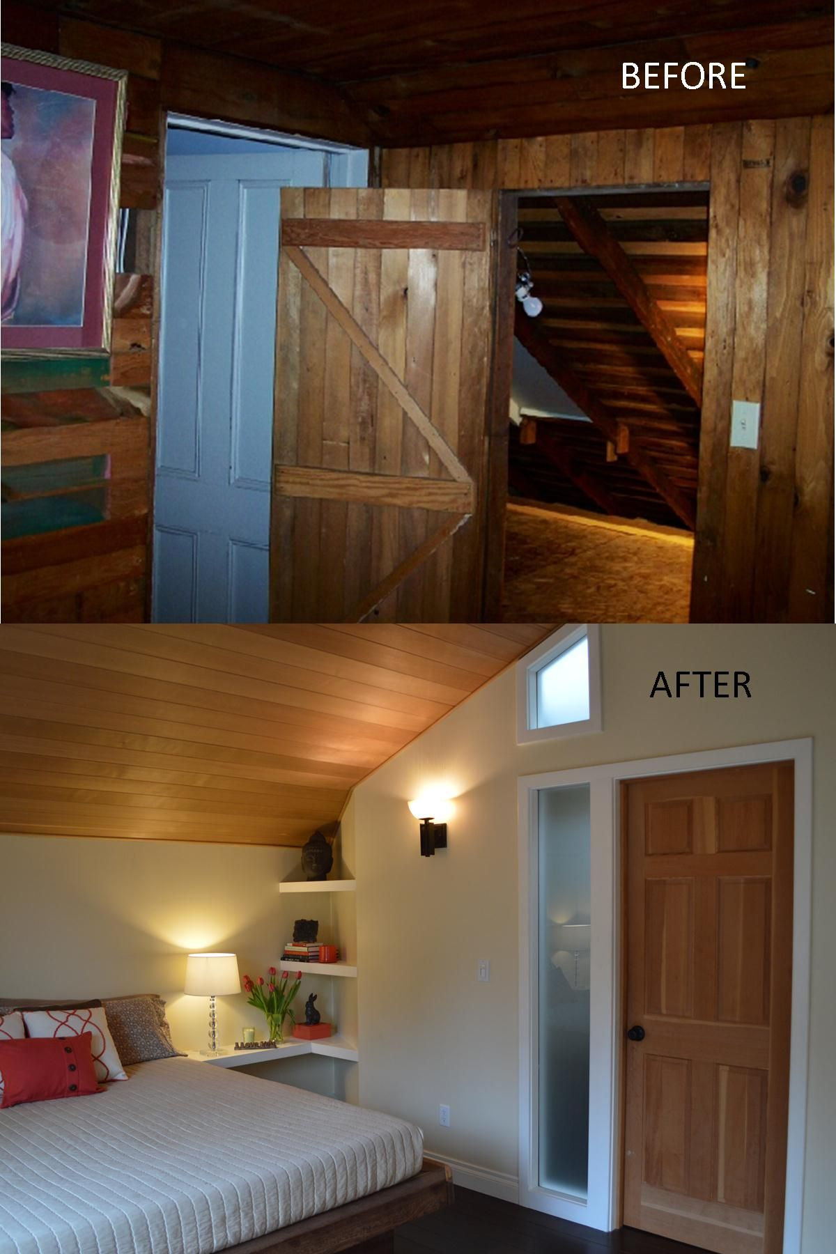 Before And After Photo Of This Attic Turned Contemporary Master Bedroom Near Seattle By Flying