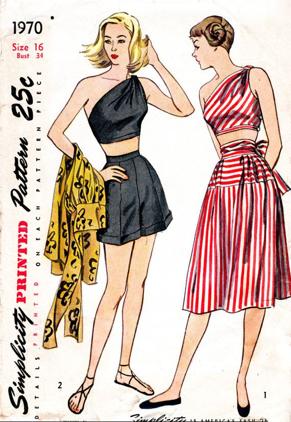 77f21acddcf 1940s 1950s Simplicity 1970 vintage sewing pattern reproduction one  shoulder crop top high waist shorts beach skirt tie waist Bust 34 b34