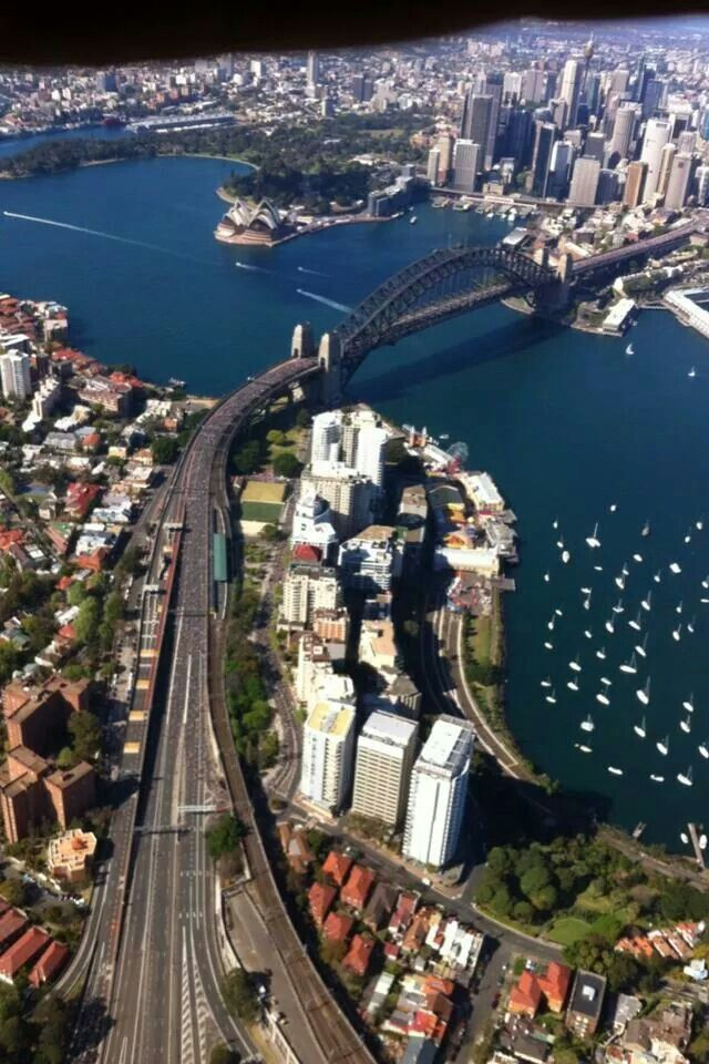 Sydney Harbour and north shore bridge approaches.