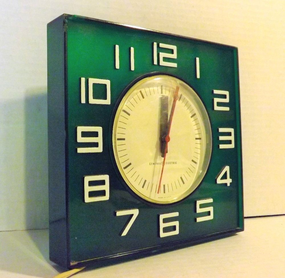 Mid Century Deco General Electric Lucite Green Wall Clock #2173 ...
