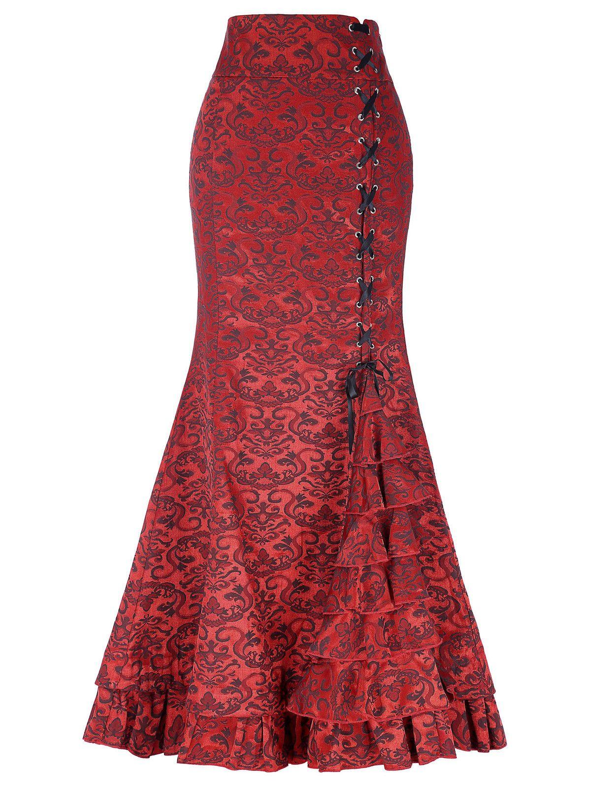 2c4705de03 Women Gothic Long Steampunk Skirt Mermaid Maxi Fishtail Victorian Skirt 4  Colors | eBay