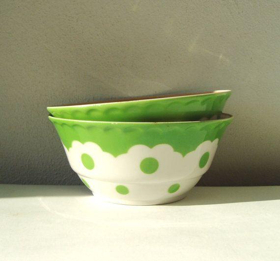 Fine China Bowls Vintage set of two little salad by MerilinsRetro, $16.00