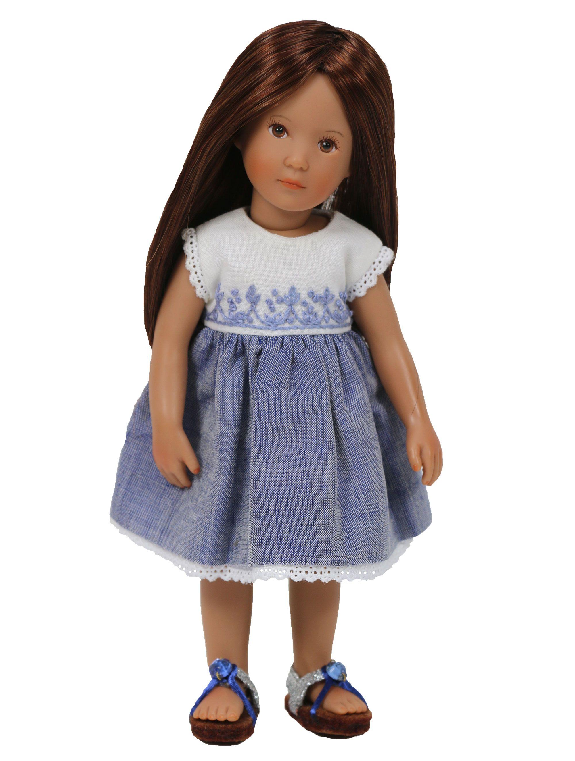 "Embroidered Bodice Blue Chambray Boneka Mini Dress 18-21cm/7-8"" by Boneka for Fun In Faith mini doll Hannah sculpted by Sonja Hartmann - at www.mydollbestfriend.co.uk"