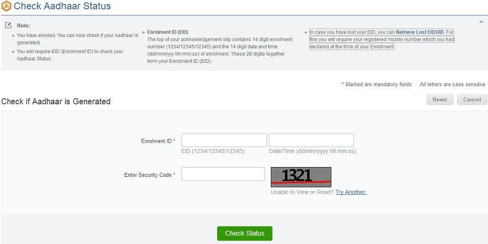 Check Aadhar Status Aadhar Card Status How To Apply